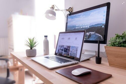 desktop and laptop office for marketers
